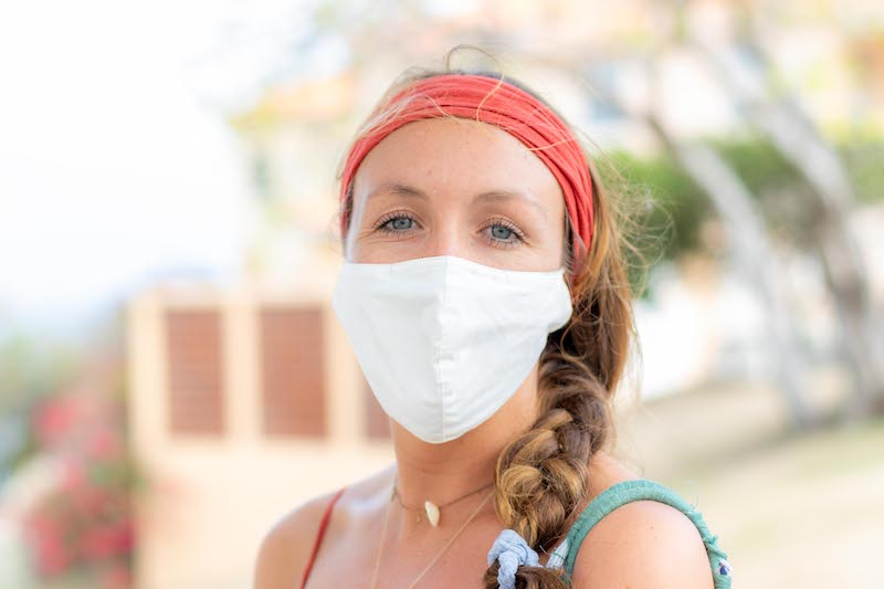 SGU Student back on campus in mask